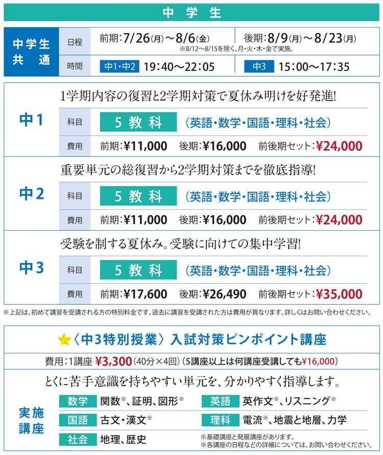 太田南中・太田旭中・大泉西中の生徒さんをメインにした夏期講習の予定です。